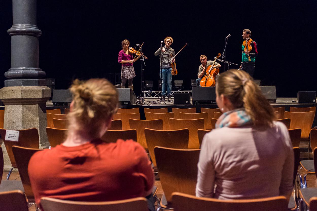 Soundcheck Konzert Feuerbach Quartett Kulturforum Fürth Fotograf Jürgen Klieber